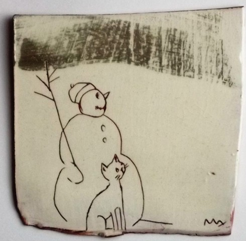 wall hanging - snowman and cat