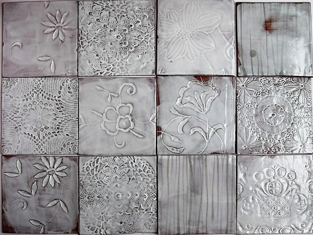 Tin glazed lace tiles