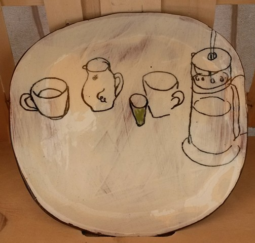 studio plate with coffeemaker