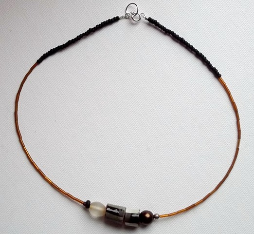 8085 necklace; mixed beads, silver plate