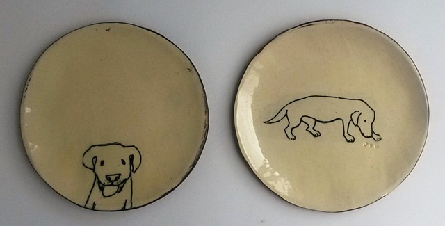 pudding plates, dogs