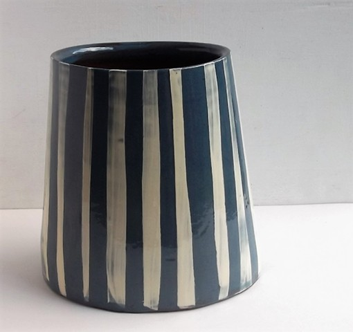 oval striped vase