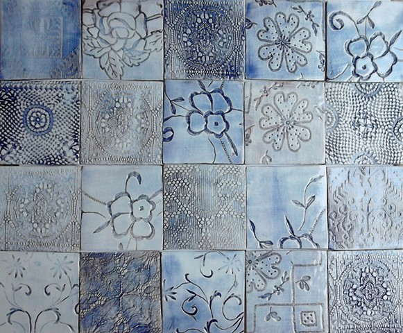 Blue washed tiles