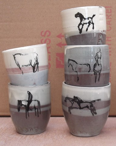 cups with horses