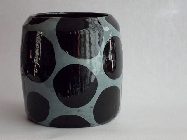 Blue dot wide vase