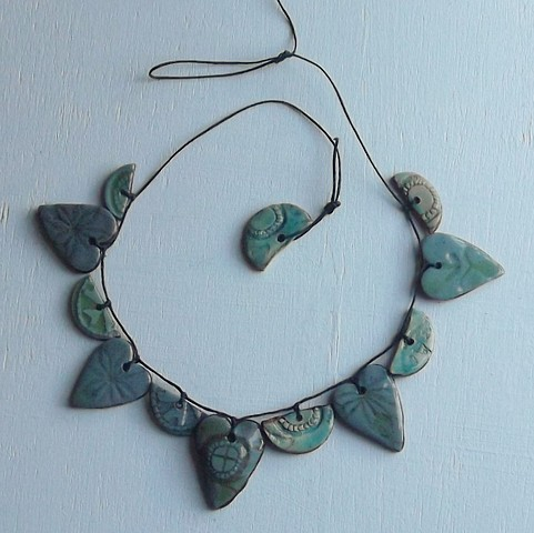 Necklace, ceramics/leather