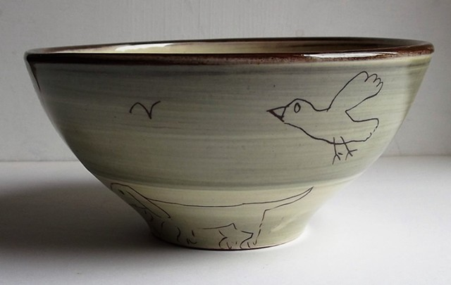 bowl with bird and folks