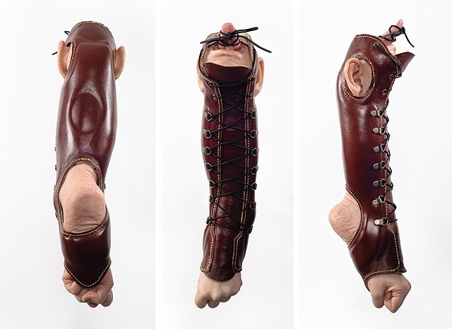 Silicone sculpture inspired by prosthetic and orthotic devices