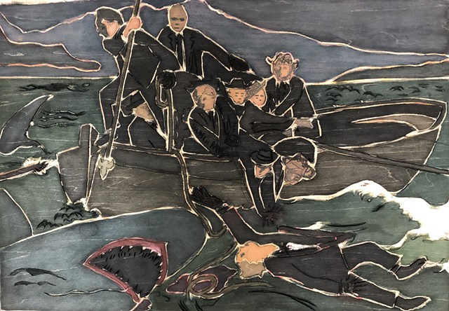 """woodblock for """"After Copley (Watson and the Shark)"""""""