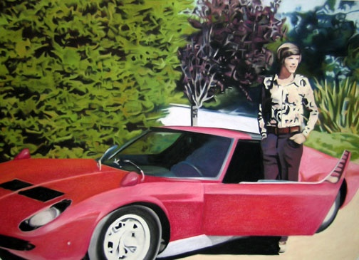 November 2nd, 1975 Chris Holl Poses with Dr. Lewis' Lamborghini Miura