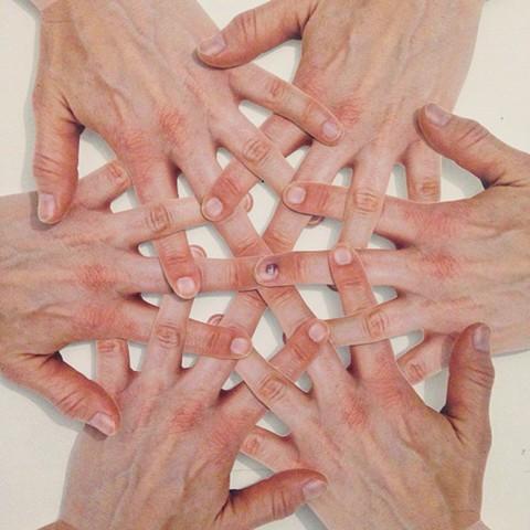 detail, Six Hands, Fingers Woven