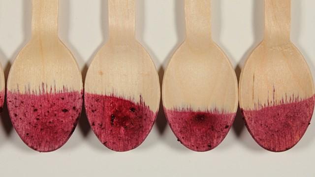 digital file, blueberry puree, wooden spoons, watercolour paper, vinegar