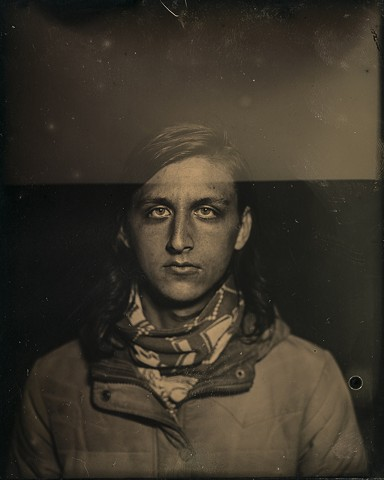 A 4 inch by 5 inch dryplate tintype of artist Evan Dawson by Columbus, Ohio artist Stephen Takacs taken at 400 West Rich Farmers Market