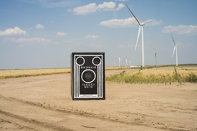 The Brownie In Motion camera obscura installed outside a windfarm in Colorado