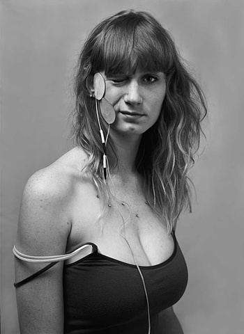 Erika Mugglin photographed while wearing electrodeson her face. Shot in the studio by Stephen Takacs using an 8 x 10 camera for the series Sing the Body Electric.