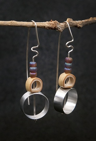 Sculptural, contemporary mixed-material earrings.