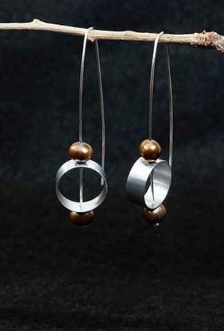 Sculptural, contemporary mixed-material earrings