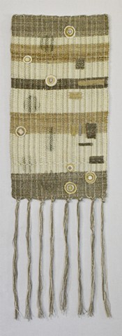 handspun wool and silk weft; cotton warp; woven on 12 harness loom with supplemental warp