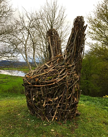 Mr. H, found wood from site, willow branches, steel armature, Scotland outdoor land art. Zehra Khan is an artist who likes to make things by hand, whether it is drawing, sculpture, or films of herself and her friends costumed and painted on.  www.zehrakha