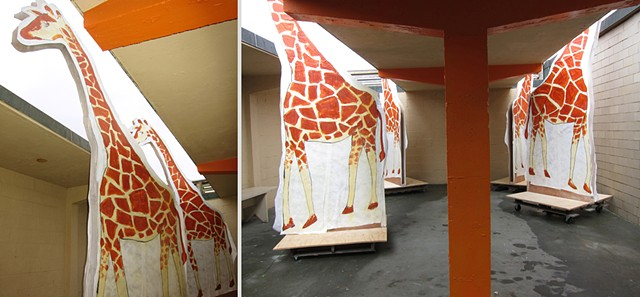 Installation for 10 Days That Shook the World: the Centennial Decade, a multi-media exhibition by Zehra Khan and Tim Winn at the Herring Cove Beach Bathhouse in the Cape Cod National Seashore, Provincetown, MA.  Anatomy and architecture, giraffes, movable