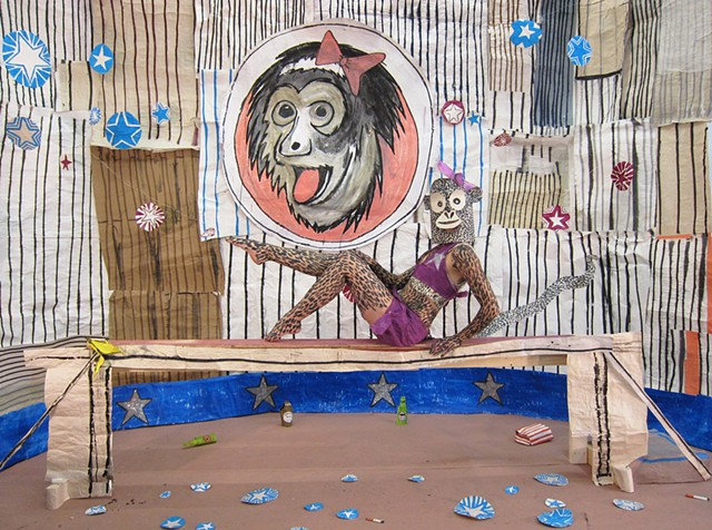 Johnny Flea and His Merry Maniacs Present the Circus, mixed-media installation,Zehra Khan is a multi-disciplinary artist who likes to make things by hand. She works in drawing, sculpture, installations, costumes, and performances for photography or film.