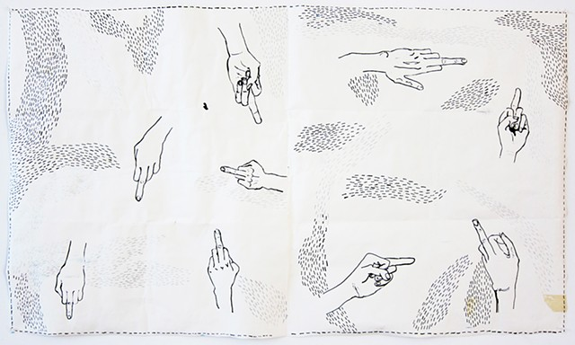 The Bird Quilt is a double-sided drawing by Zehra Khan, 2015, using ink, acrylic and collage on paper.  The backside shows the hand gesture of someone 'flipping the bird'.  Aka, giving the #middlefinger, flipping someone off, or #flippingthebird. #paper #