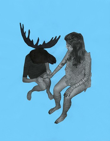 Moose Painting Nails is a drawing by Zehra Khan. This is part of a series titled Animal Silhouettes, an exploration into further altering the documentation of an installation. The black ink flattens animal heads onto the bodies of the performer.