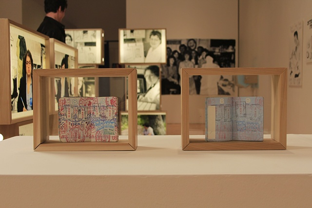 Amy Flaherty Installation Palindronic Sequences Art passport newspapers light boxes