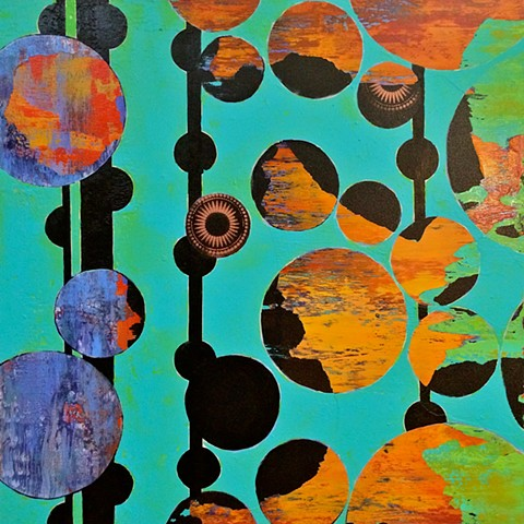 Contemporary Abstract Painting, Orange, Yellow, Blue, Green, Aqua