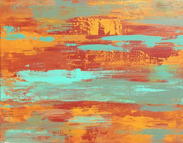 coastal art, contemporary Abstract Art, circles, spheres, flowers, floral, jackson pollack, sunset, Ocean, modern, blue, orange, green, copper, turquoise, yellow, orange, contemporary art, abstract, san diego, san diego artist, affordable art, bright, col