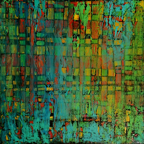 contemporary abstract art, modern, blue, green, turquoise, black, aqua, copper, contemporary art, abstract, san diego, san diego artist, affordable art, bright, colorful, non-representational abstract art, pink, yellow, chartreuse, orange