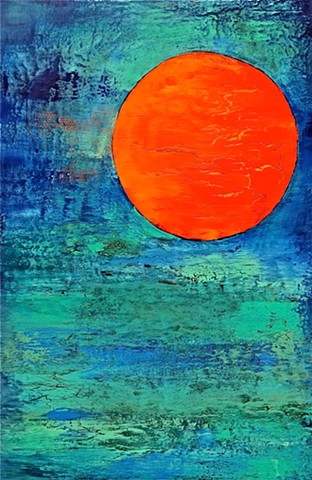 contemporary Abstract Art, circles, spheres, flowers, floral, jackson pollack, sunset, Ocean, modern, blue, orange, green, copper, turquoise, yellow, orange, contemporary art, abstract, san diego, san diego artist, affordable art, bright, colorful, non-re