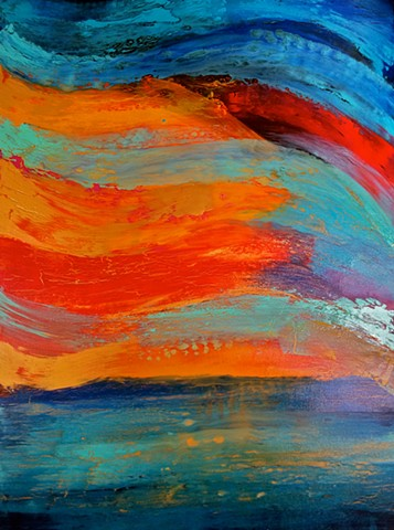 contemporary Abstract Art, flowers, portrait, floral, jackson pollack, sunset, Ocean, modern, blue, orange, green, copper, turquoise, yellow, orange, contemporary art, abstract, san diego, san diego artist, affordable art, bright, colorful, non-representa