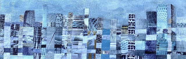 Cityscape, collage, large wall art, blue art, contemporary art, modern art, San Francisco Art, Marin art