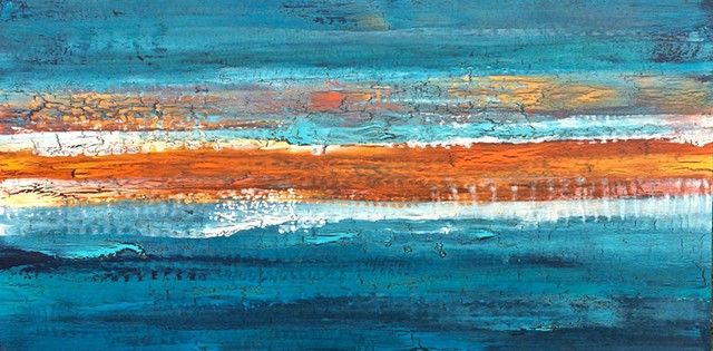 coastal art, coastal, contemporary Abstract Art, circles, spheres, flowers, floral, jackson pollack, sunset, Ocean, modern, blue, orange, green, copper, turquoise, yellow, orange, contemporary art, abstract, san diego, san diego artist, affordable art, br