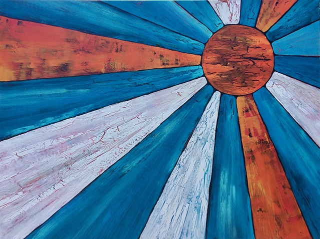 coastal, contemporary Abstract Art, circles, spheres, flowers, floral, jackson pollack, sunset, Ocean, modern, blue, orange, green, copper, turquoise, yellow, orange, contemporary art, abstract, san diego, san diego artist, affordable art, bright, colorfu
