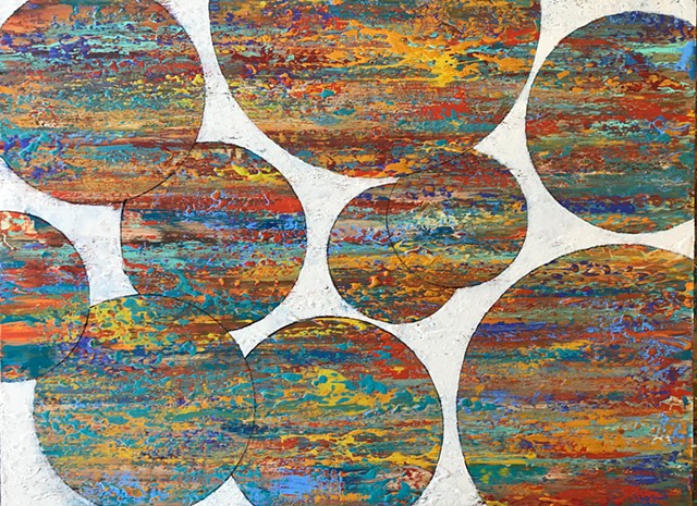 coastal art, big wall art, geometric art, circle art, orange art, turquoise art, mid-century art, an francisco artist, marin artist,san francisco, california, coastal, contemporary Abstract Art, circles, spheres, flowers, floral, jackson pollack, sunset,