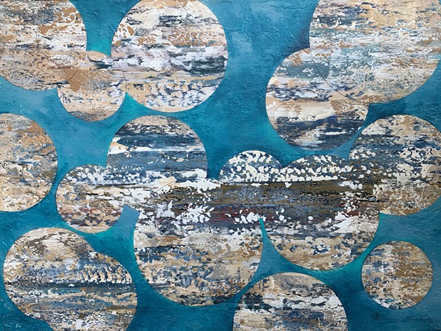 coastal art, big wall art, moon art, san francisco, california, coastal, contemporary Abstract Art, circles, spheres, flowers, floral, jackson pollack, sunset, Ocean, modern, blue, orange, green, copper, turquoise, yellow, orange, contemporary art, abstra
