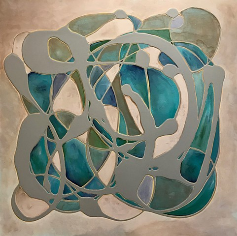 coastal art, alicia dunn, alicia dunn art, big wall art, san diego, california, coastal, contemporary Abstract Art, circles, spheres, flowers, floral, jackson pollack, sunset, Ocean, modern, blue, orange, green, copper, turquoise, yellow, orange, contempo