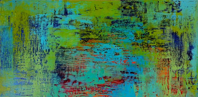 Oceanscape, contemporary abstract art, modern, blue, green, turquoise, black, aqua, copper, contemporary art, abstract, san diego, san diego artist, affordable art, bright, colorful, non-representational abstract art, pink, yellow, chartreuse, orange