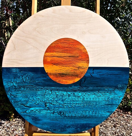 coastal art, native american art, coastal, contemporary Abstract Art, circles, spheres, flowers, floral, jackson pollack, sunset, Ocean, modern, blue, orange, green, copper, turquoise, yellow, orange, contemporary art, abstract, san diego, san diego artis