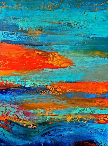 contemporary, abstract, colorful, blue, aqua