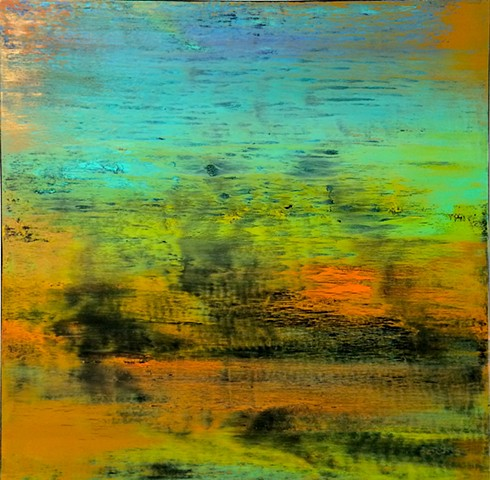 contemporary Abstract Art, flowers, floral, jackson pollock, sunset, Ocean, modern, blue, orange, green, copper, turquoise, yellow, orange, contemporary art, abstract, san diego, san diego artist, affordable art, bright, colorful, non-representational abs