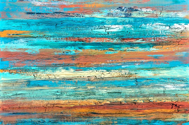 contemporary Abstract Art, coastal, beach, circles, spheres, flowers, floral, jackson pollack, sunset, Ocean, modern, blue, orange, green, copper, turquoise, yellow, orange, contemporary art, abstract, san diego, san diego artist, affordable art, bright,