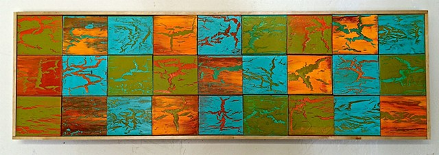 contemporary Abstract Art, rustic, reclaimed wood, 3D, sculpture, mid century modern, jackson pollack, sunset, Ocean, modern, blue, orange, green, copper, turquoise, yellow, orange, contemporary art, abstract, san diego, san diego artist, affordable art,
