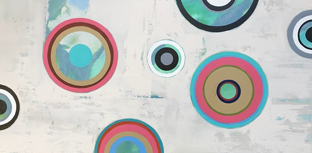 geometric art, big wall art, san francisco, california, coastal, contemporary Abstract Art, circles, spheres, flowers, floral, jackson pollack, sunset, Ocean, modern, blue, orange, green, copper, turquoise, yellow, orange, contemporary art, abstract, san