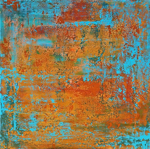 contemporary Abstract Art, flowers, floral, jackson pollack, sunset, Ocean, modern, blue, orange, green, copper, turquoise, yellow, orange, contemporary art, abstract, san diego, san diego artist, affordable art, bright, colorful, non-representational abs