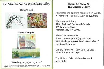 TWO 'PLEIN AIR' ARTISTS TO SHOW AT CLOISTER GALLERY