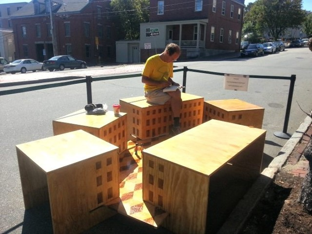 "Park(ing) Day installation ""Piazza"" by Michael Belleau Architect in Portland Maine"