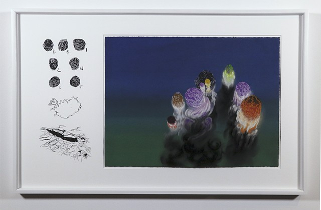 Shawn Bitters, Screenprint, pastel, drawing, iceland, Eyjafjallajokull, Holuhraun